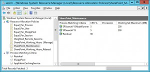 WSRM SharePoint Maintenance