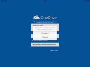 Configure OneDrive for Business 1.2.2 (iOS) - warning message because we are not using HTTPS.