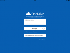 Configure OneDrive for Business 1.2.2 (iOS) using an account that has space characters in the logon name.
