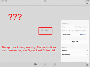 Configure OneDrive for Business 1.2.2 (iOS) - the app looks like is configured, but it doesn't work.