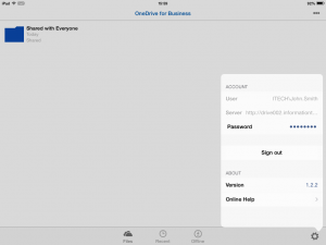 OneDrive for Business 1.2.2 (iOS) is now configured.