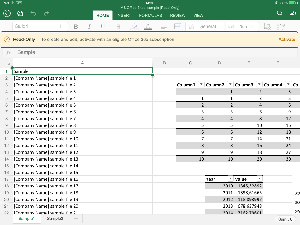 collaborate using microsoft excel for ipad app  on