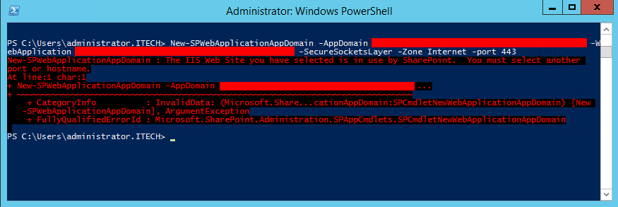 The IIS Web Site you have selected is in use by SharePoint 01